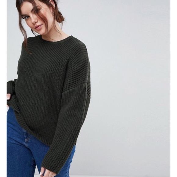 03a1d1609d9 ASOS Curve Sweaters   Asos Design Curve Chunky Olive Crop Sweater ...